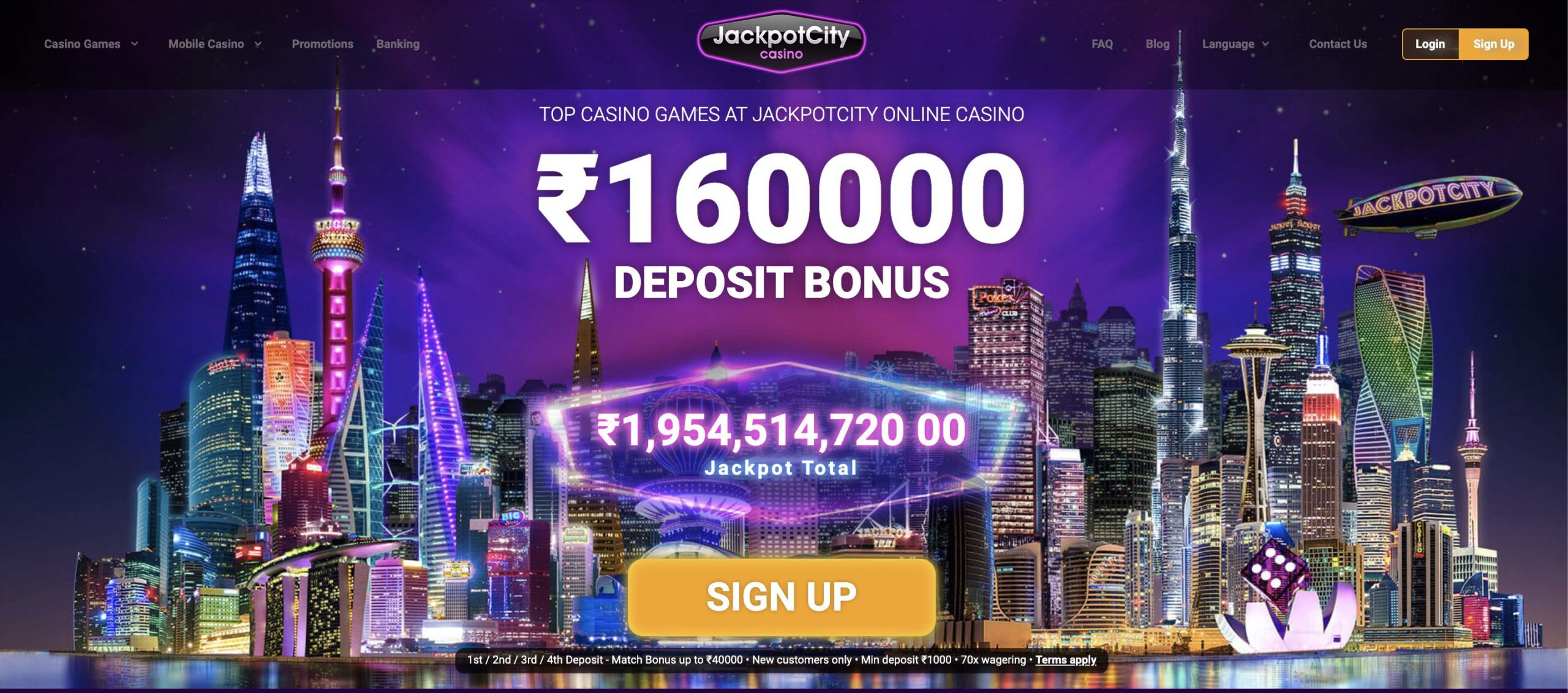 jackpotcity homepage and welcome bonus for the Indian market